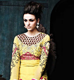 LATEST DESIGNER RAJWADI GOWN STYLE YELLOW ANARKALI DRESS WITH DUPATTA