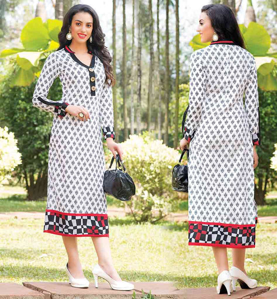 CASUAL WEAR PURE COTTON LONG KURTI DESIGNS KURTHI WITH FANCY NECKLINE AND COLLAR AND BUTTON PATTERN