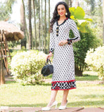 KURTHI WITH FANCY NECKLINE AND COLLAR AND BUTTON PATTERN OFF-WHITE TUNIC WITH CONTRAST HEMLINE LOOK FOR WOMEN