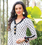 OFF-WHITE TUNIC WITH CONTRAST HEMLINE LOOK FOR WOMEN CASUAL WEAR PURE COTTON LONG KURTI DESIGNS