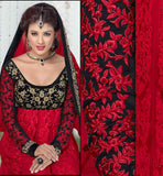 DESIGNER FSUION NET RED & BLACK ANARKALI STYLE OR LEHENGA DRESS VDFU18001