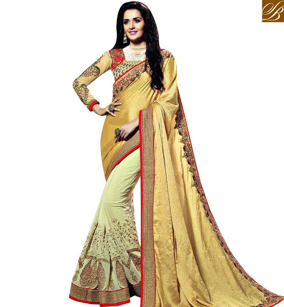 STYLISH BAZAAR BEAUTIFUL PARTY WEAR TRADITIONAL CREAM AND MUSTARD COLOR GEORGETTE AND JACQUARD DESIGNER SARI WITH WONDERFUL EMBROIDERY BLOUSE SLSNP18001