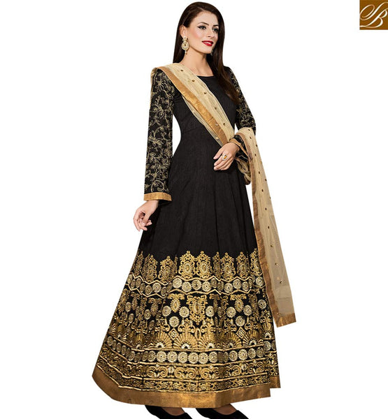 STYLISH BAZAAR INVITING BLACK BANGLORI SILK DESIGNER ANARKALI SALWAR KAMEEZ WITH HEAVY EMBROIDERY WORK VDPRT18001