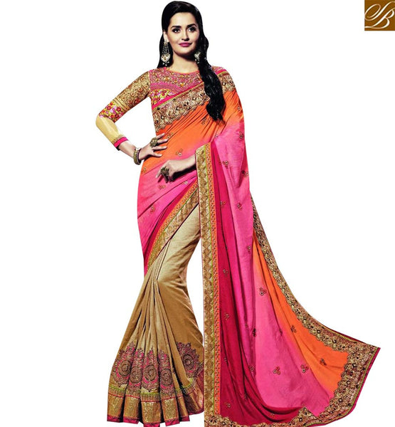 STYLISH BAZAAR DELIGHTFUL WEDDING WEAR GEORGETTE AND JACQUARD DESIGNER SAREE HAVING BEIGE SKIRT AND PINK PALLU WITH EMBROIDERY BLOUSE SLSNP18002