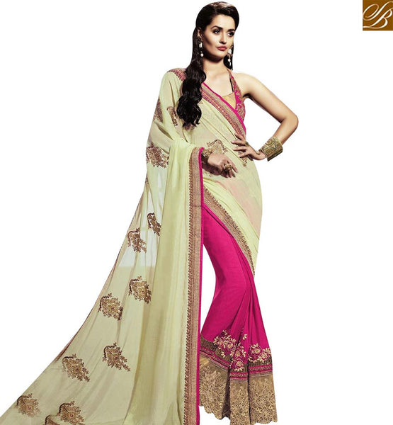 STYLISH BAZAAR MARVELLOUS CREAM AND PINK GEORGETTE AND JACQUARD DESIGNER SARI WITH EMBROIDERED BLOUSE SLSNP18003