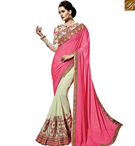 STYLISH BAZAAR GORGEOUS PINK AND CREAM COLOR GEORGETTE SAREE WITH HEAVY EMBROIDERY WORK AND CREAM COLOR DESIGNER BLOUSE SLSNP18004