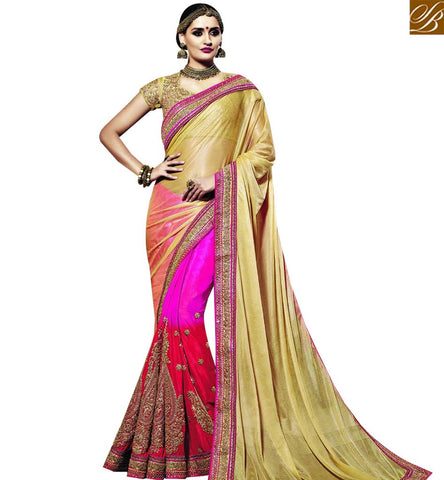 STYLISH BAZAAR PRESENTATION SPLENDID RED AND PINK SHADED SKIRT AND BEIGE COLOR PALLU GEORGETTE AND JACQUARD DESIGNER SAREE HAVING ASTONISHING EMBROIDERY WORK SLSNP18005