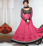 FUSION DESIGNER PEACH & BLACK NET SALWAR KAMEEZ OR LEHENGA STYLE DRESS
