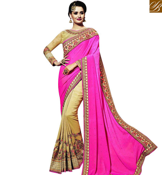 GRACEFUL BEIGE AND PINK GEORGETTE HALF N HALF DESIGNER PARTY WEAR SAREE WITH HEAVY EMBROIDERED WORK AND BEIGE COLOR RAVISHING BLOUSE SLSNP18006