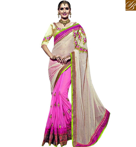 STYLISH BAZAAR ATTRACTIVE CREAM AND PINK COLOR GEORGETTE JACQUARD SAREE WITH HEAVY EMBROIDERY WORK AND GORGEOUS DESIGNER BLOUSE SLSNP18008