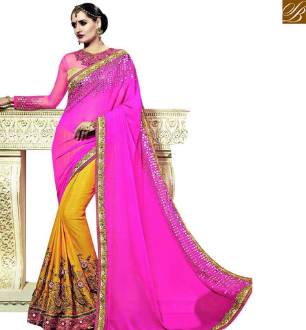 STYLISH BAZAAR WEDDING WEAR MAGNIFICENT PINK AND YELLOW COLOR GEORGETTE AND JACQUARD SAREE WITH HEAVY EMBROIDERY AND DESIGNER WORK BLOUSE SLSNP18010