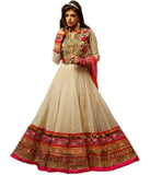 FULL LENGTH ROYAL LOOK CREAMISH NET ANARKALI CHURIDAR OUTFIT 1400