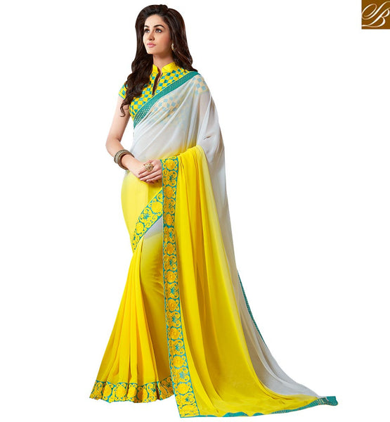 SUPERB HALF AND HALF SAREE ACCOMPANIED WITH A UNIQUELY DESIGNED BLOUSE VAR1803 BY YELLOW & OFF WHITE