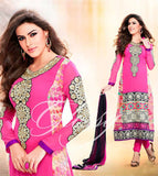 PEPPY PINK FAUX GEORGETTE ANARKALI CHURIDAR SUIT WITH DUPATTA 1727