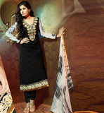 BEAUTIFUL BLACK GEORGETTE & BRASSO PARTY WEAR SALWAR KAMEEZ DRESS
