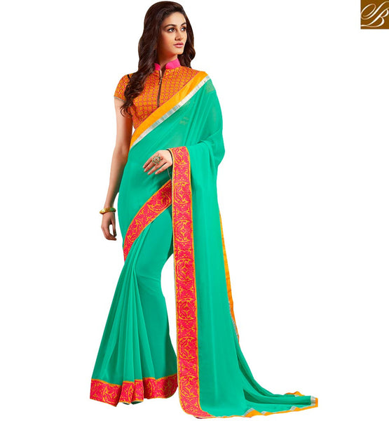 WELL FORMED GREEN DESIGNER SAREE ALONG WITH A COLLAR NECK ZIPPER BLOUSE VAR1805BY SEA GREEN