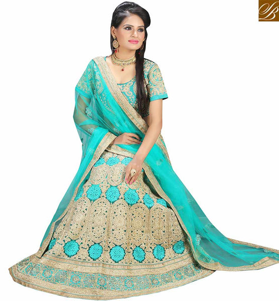 STYLISH BAZAAR SHOP SEA GREEN NET DESIGNER LAHENGA ATTIRE WITH HEAVY EMBROIDERED CHOLI AND LEHENGA VDAVT18077