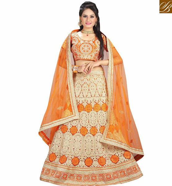 STYLISH BAZAAR ATTRACTIVE ORANGE NET DESIGNER LEHENGA CHOLI ATIIRE WITH CREAM AND ORANGE EMBROIDERY WORK VDAVT18078