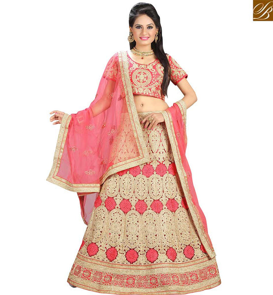 STYLISH BAZAAR WONDERFUL PINK NET DESIGNER LEHENGA CHOLI WITH HEAVY RESHAM EMBROIDERY AND LACE BORDER WORK VDAVT18079
