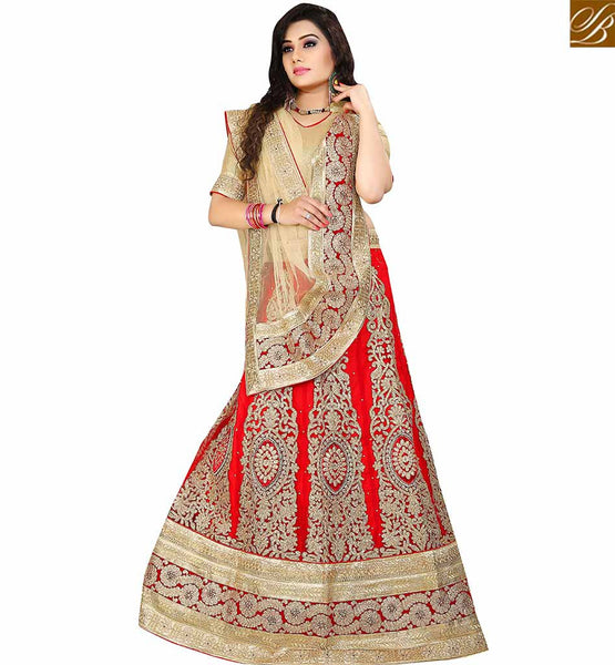 STYLISH BAZAAR BUY RED NET DESIGNER LEHENGA CHOLI WITH HEAVY EMBROIDERED KALI AND LACE BORDER WORK VDAVT18080