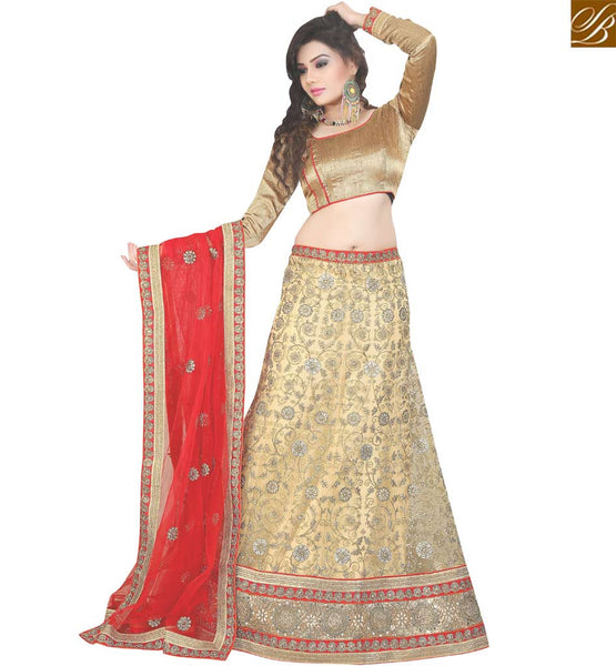 SPLENDID BEIGE NET DESIGNER LEHENGA CHOLI HAVING UNIQUE EMBROIDERY WORK WITH RED NET DUPATTA VDAVT18081