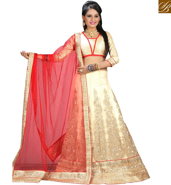 STYLISH BAZAAR NICE LOOKING CREAM NET DESIGNER LEHENGA CHOLI HAVING EMBROIDERED KALI AND RED NET DUPATTA VDAVT18087