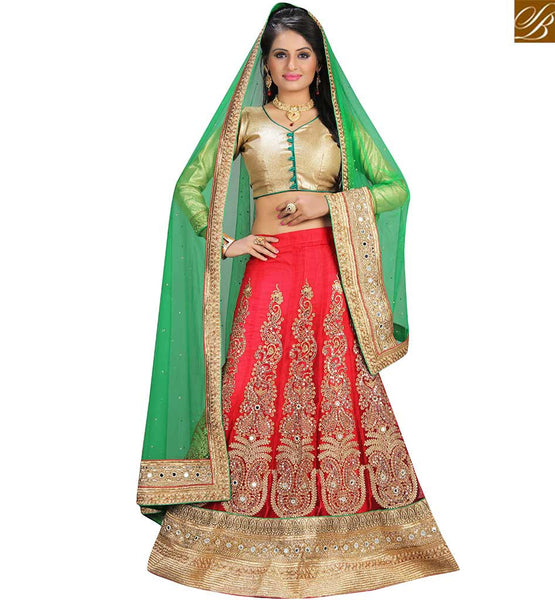STYLISH BAZAAR DELIGHTFUL RED NET HEAVY EMBEDDED DESIGNER LAHENGA CHOLI WITH GREEN NET DUPATTA VDAVT18088