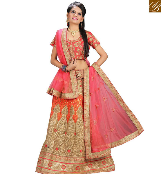 STYLISH BAZAAR IMPRESSIVE PEACH NET DESIGNER LEHENGA CHOLI HAVING BEIGE AND PEACH EMBROIDERY WORK VDAVT18089