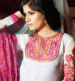 womens salwar suit with embroidered neckline