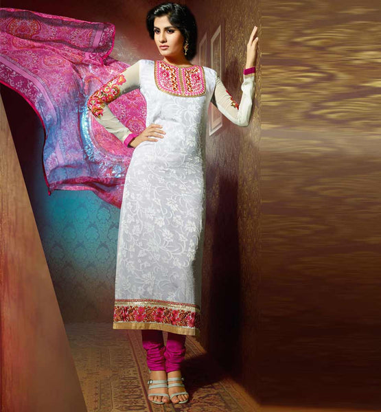 ELEGANT OFF-WHITE GEORGETTE & BRASSO PARTY WEAR SALWAR KAMEEZ