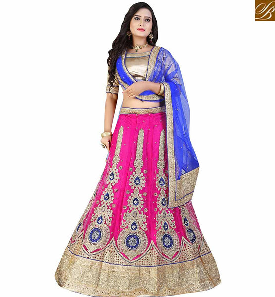 STYLISH BAZAAR CHARMING PINK NET DESIGNER LEHENGA CHOLI HAVING HEAVY EMBROIDERD KALI WITH BLUE NET DUPATTA VDAVT18091