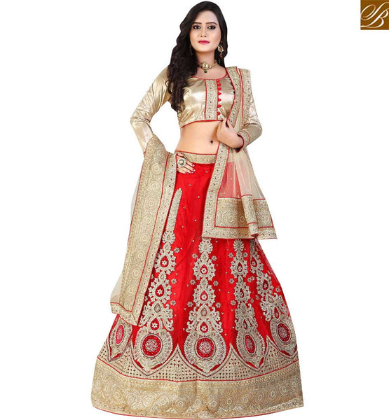 STYLISH BAZAAR PLEASING RED NET HEAVY EMBROIDERED LEHENGA CHOLI HAVING LACE BORDER WORK WITH CREAM NET DUPATTA VDAVT18092
