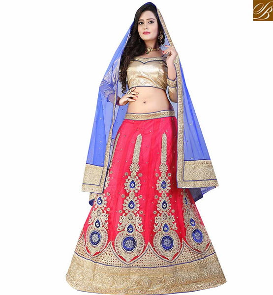 STYLISH BAZAAR INVITING RED NET DESIGNER LEHENGA CHOLI HAVING RESHAM EMBROIDERED KALI WORK WITH BLUE NET DUPATTA VDAVT18093