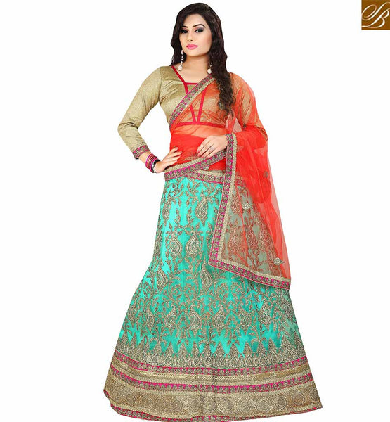 STYLISH BAZAAR AWESOME SEA GREEN NET DESIGNER LEHENGA CHOLI HAVING GLAMOROUS LOOK WITH RED NET DUPATTA VDAVT18095