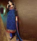 MAJESTIC BLUE GEORGETTE & BRASSO PARTY WEAR SALWAR KAMEEZ SUIT