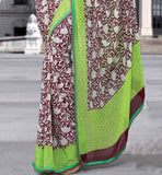 GREEN & MAROON CASUAL WEAR SAREE RTKOR180A