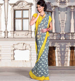 BLUE & YELLOW CASUAL WEAR SAREE RTKOR180B