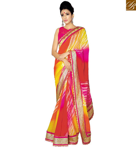 STYLISH BAZAAR AMAZING MULTI COLOR GEORGETTE DESIGNER SAREE WITH ELEGANT LACE BORDER WORK VDETF18101