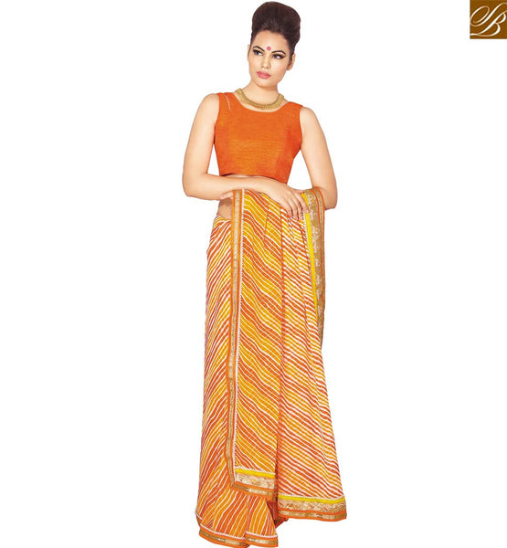 STYLISH BAZAAR BEAUTIFUL ORANGE AND MUSTERD GEORGETTE DESIGNER SAREE HAVING LACE BORDER WORK WITH ORANGE BLOUSE VDETF18103