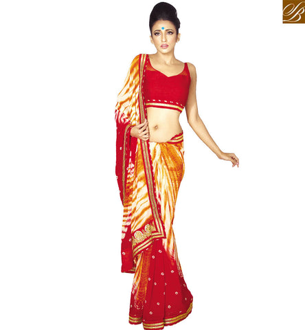 STYLISH BAZAAR DELIGHTFUL RED GEORGETTE DESIGNER SAREE HAVING ATTRACTIVE PRINTED WITH PLEASING LACE BORDER VDETF18104