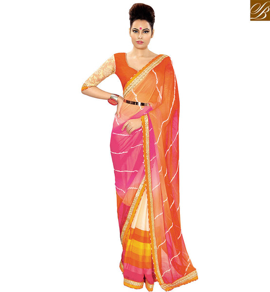 STYLISH BAZAAR ELEGANT MULTI GEOREGETTE DESIGNER SAREE WITH EYE CATCHING PRINT AND ORANGE COLOR BLOUSE VDETF18105