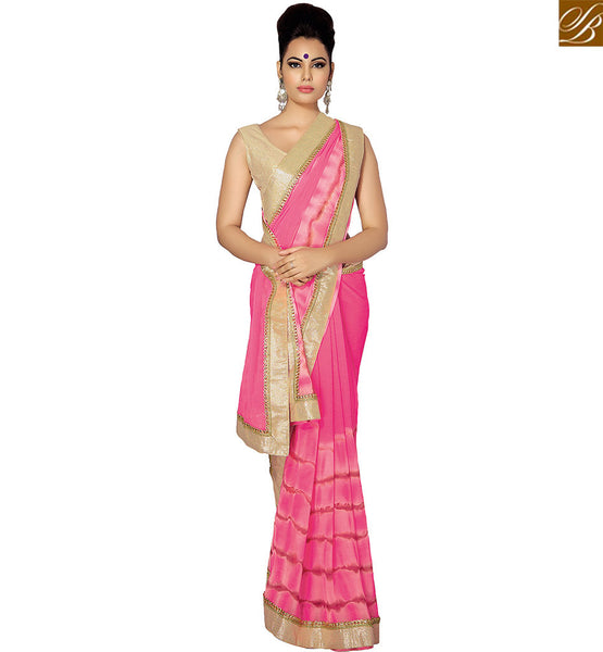 STYLISH BAZAAR APPRECIATING PINK CHIFFON AND BEAUTIFUL PRINT DESIGNER SAREE ATTIRE WITH GOTA LACE BORDER WORK VDETF18106