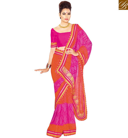 STYLISH BAZAAR INVITING PINK AND ORANGE GEORGETTE PARTY WEAR DESIGNER SAREE WITH PINK BLOUSE VDETF18107