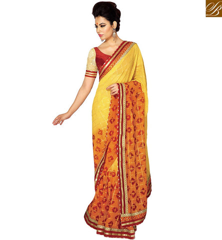STYLISH BAZAAR SHOP ONLINE ORANGE AND YELLOW SHADED DESIGNER SAREE HAVING SEQUENCE WORK WITH MAROON BLOUSE VDETF18108