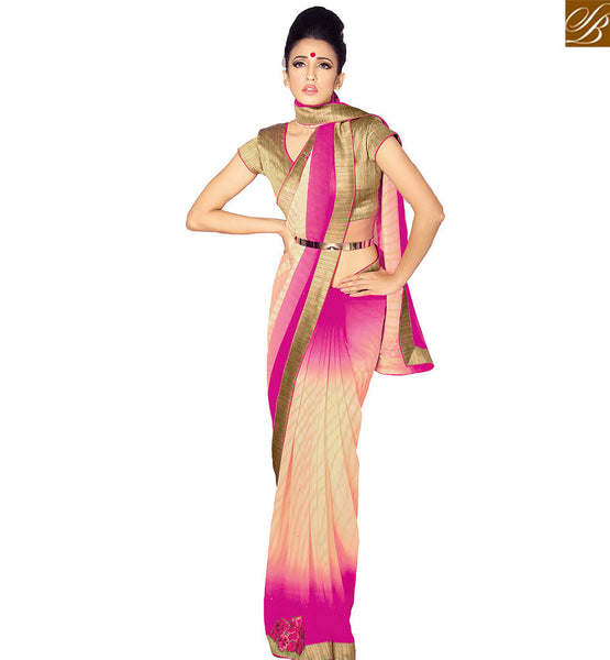 STYLISH BAZAAR MARVELLOUS PINK AND CREAM GEORGETTE SAREE HAVING GORGEOUS PATTERN OF THE MODERN FEST VDETF18109