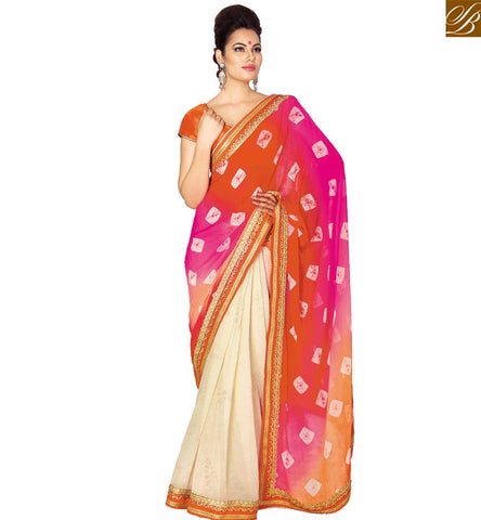 STYLISH BAZAAR SPLENDID OFF WHITE CHIFFON SAREE ATTIRE WITH MULTI COLOR PRINTED PALLU WITH LOVELY LACE WORK VDETF18111