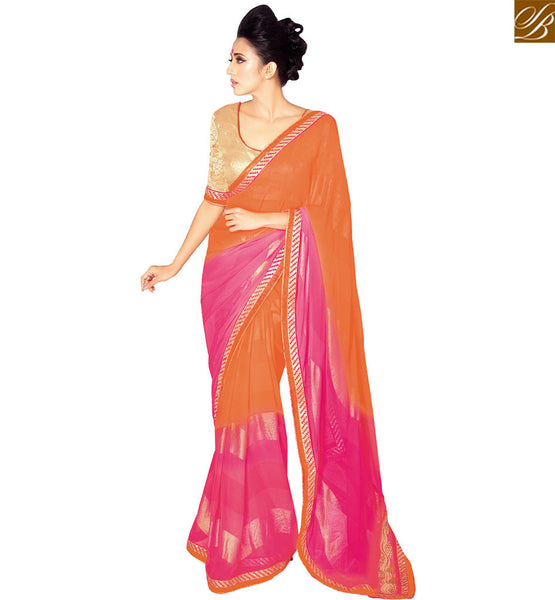 STYLISH BAZAAR FETCHING ORANGE GEORGETTE PARTY WEAR DESIGNER SAREE HAVING FASHIONABLE GLANCE VDETF18112