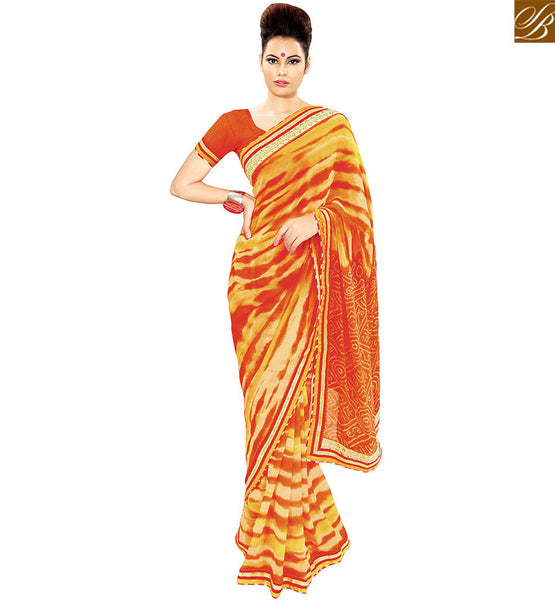 STYLISH BAZAAR BUY ONLINE MULTI COLOR PRINTED GEORGETTE DESIGNER SAREE ATTIRE WITH LACE FROM STYLISH BAZAAR VDETF18113