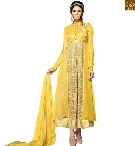 STYLISH BAZAAR ATTRACTIVE BEIGE AND YELLOW GEORGETTE NET DESIGNER ANARKALI SALWAR KAMEEZ WITH JACKET STYLE VDENG18207