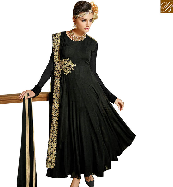 STYLISH BAZAAR WONDERFUL BLACK GEORGETTE ANARKALI SALWAR KAMEEZ HAVING SUPERB EMBROIDERY WORK ON THE TOP VDENG18209